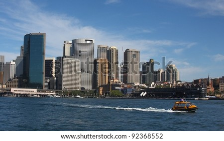 Sydney CBD, close view from harbour - stock photo