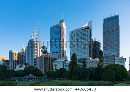 Sydney Central Business District skyline viewed from the Domain. Downtown skyscrapers of Sydney city with copy space. NSW, Australia - stock photo