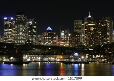 Sydney City At Night, Australia - stock photo
