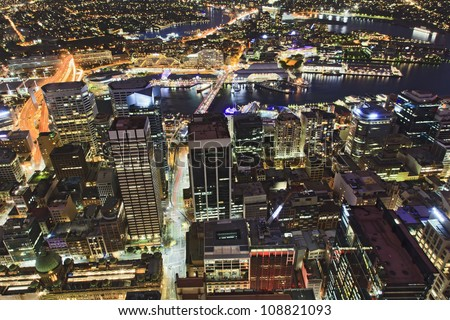 Sydney city CBD sunset view from sydney tower ocean of lights streets and buildings with illumination - stock photo