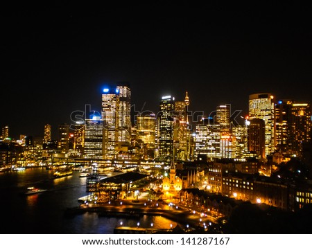 Sydney city in the night with beautiful light - stock photo