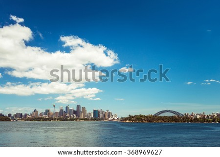 Sydney city skyline on a bright day. Color tonong effects applied - stock photo