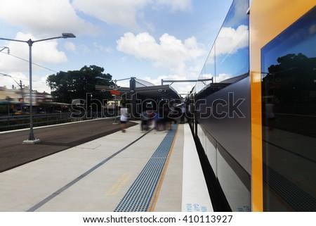 Sydney city train platforms - stock photo