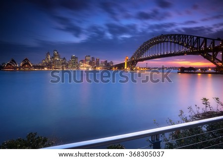 Sydney cityscape view at night - stock photo