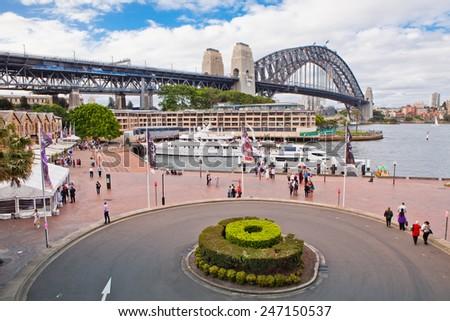 SYDNEY - DECEMBER 3: The Sydney Harbour Bridge in Sydney, Australia on December 3, 2011 is the world's widest long-span bridge.  - stock photo