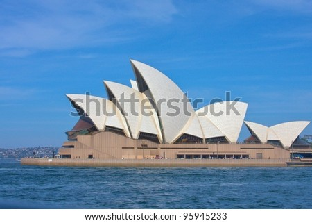 SYDNEY - FEBRUARY 19: Sydney Opera House view on February 19, 2012 in Sydney, Australia. The Sydney Opera House is a famous arts center. It was designed by Danish architect Jorn Utzon, finally opening in 1973. - stock photo