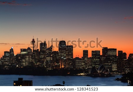Sydney Harbor at dusk from Mosman Bay - stock photo