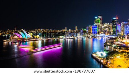 Sydney Harbor at night - stock photo