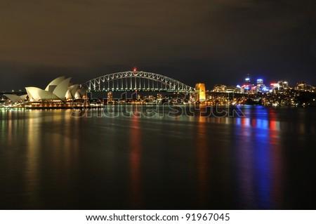 Sydney harbor at Night - stock photo