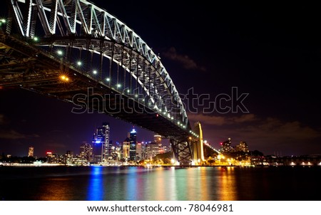 Sydney Harbor bridge night skyline. - stock photo