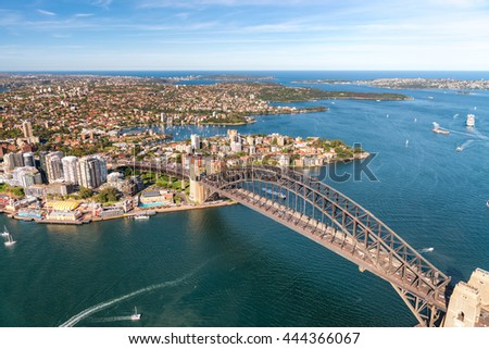 Sydney Harbour Bridge, amazing view from helicopter. - stock photo