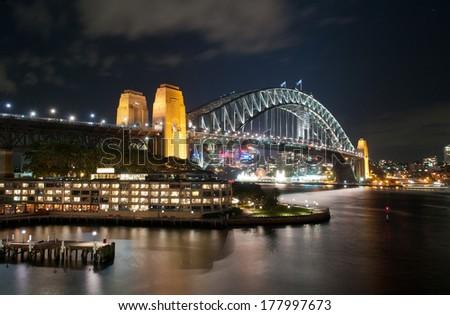 Sydney Harbour Bridge at night - stock photo