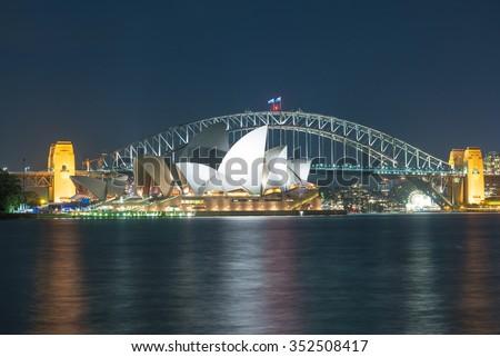 Sydney Harbour Bridge at night. - stock photo
