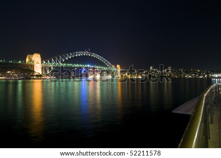 Sydney Harbour Bridge at Night - stock photo