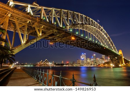 Sydney, Harbour Bridge by Night Sydney, Harbour Bridge by Night , view from Luna Park. - stock photo