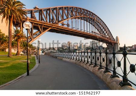 Sydney Harbour Bridge in a quiet spring sunrise in Sydney, Australia - stock photo