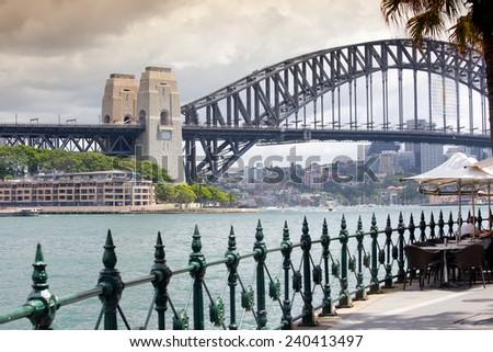 Sydney Harbour Bridge in a quiet spring sunset in Sydney, Australia  - stock photo