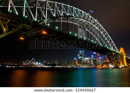 Sydney Harbour Bridge, Opera House and Skyline - stock photo