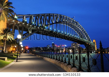 Sydney Harbour Bridge, Sydney, Australia at night - stock photo