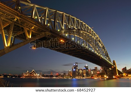 Sydney Harbour Bridge taken after sunset - stock photo