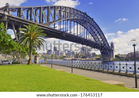 Sydney Harbour Bridge with City Skyline, Australian Icon located in Sydney, Australia  - stock photo