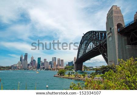 Sydney Harbour Bridge with City Skyline, Sydney, Australia - stock photo