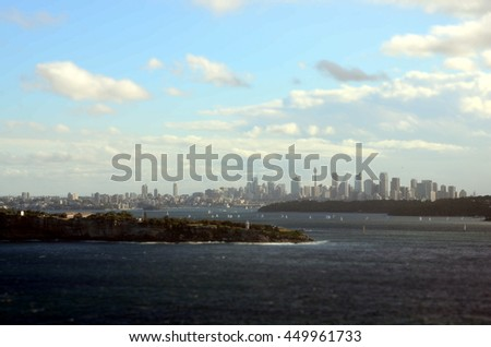 Sydney Harbour ocean water wide panoramic view on the CBD city from North Head entrance to harbour - stock photo