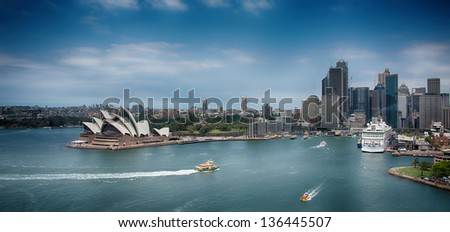 Sydney Harbour Skyline with dramatic toning effect - stock photo