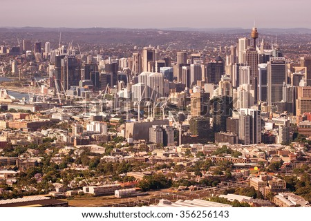 Sydney, helicopter view. - stock photo