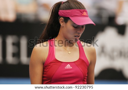 SYDNEY - JAN 8: Serbian Ana Ivanovic losing her first round match in the APIA Tennis International. Sydney - January 8, 2012 - stock photo