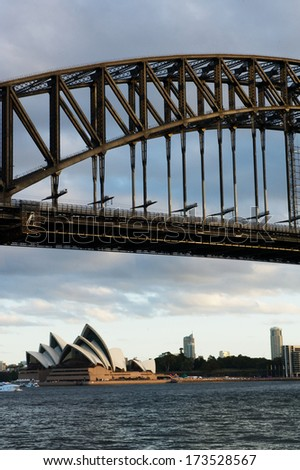 SYDNEY - JANUARY 26: Sydney Harbour Bridge view on January 26, 2014 in Sydney, Australia. The Sydney Harbour Bridge is one of Australia's most well known and photographed landmarks. - stock photo