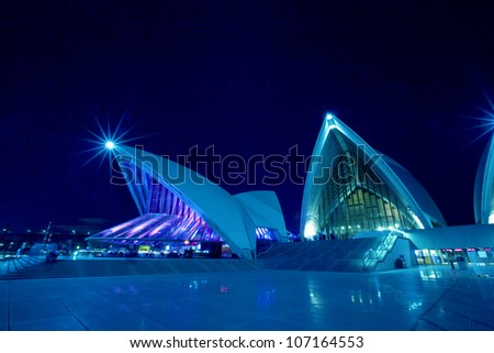 SYDNEY, MARCH 26: Close up view of Sydney Opera House on March 26,2012 in Sydney, Australia. The Opera House is Unesco World Heritage Site and one of the world's famous landmarks. - stock photo