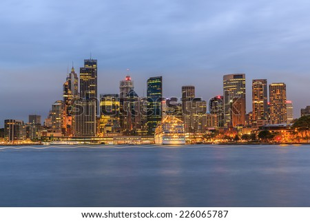 SYDNEY - MAY 10: City scape of Sydney at twilight on May 10, 2014 in Sydney. It is the state capital of New South Wales and the most populous city in Australia. - stock photo