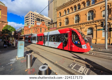 SYDNEY - MAY 12: Light rail at Paddy market station on May 12, 2014 in Sydney. Sydney Trains is owned by the Government of NSW and operates all passenger rail services in metropolitan Sydney. - stock photo