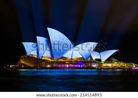 SYDNEY - MAY 31, 2014: Sydney Opera House shown during Vivid Sydney: A Festival of Light, Music & Ideas in Sydney, Australia - stock photo
