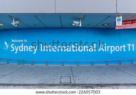 SYDNEY- MAY 17 : Welcome board at Sydney (Kingsford Smith) Airport, Sydney, Australia on May 17, 2014. It is the only major airport serving Sydney, and is a primary hub for Qantas. - stock photo