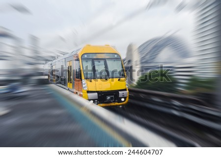 Sydney moving train - stock photo