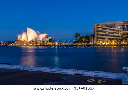 Sydney, New South Wales, Australia - December 29, 2014: Profile of Sydney Opera House at night seen from Circular Quay. - stock photo