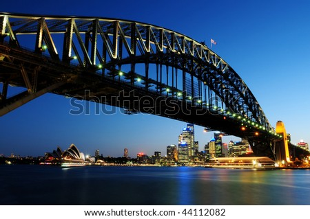SYDNEY - NOV 24: The Harbour Bridge at night on Nov 24, 2009 in Sydney, Australia. - stock photo