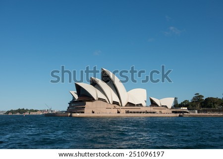 Sydney, NSW/Australia-December 26 : Opera house iconic of Sydney locate in Sydney harbour on December 26, 2013. - stock photo
