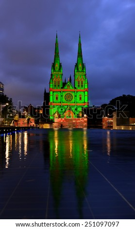 Sydney, NSW/Australia-December 23: St.mary catherdal of Sydney  with light effect on Christmas on  December 23,2013 - stock photo