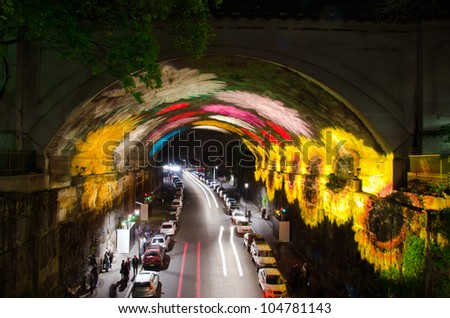 SYDNEY, NSW/AUSTRALIA - JUNE 08: Vivid Sydney festival on June 08, 2012 in Sydney. This is an annual famous light art festival happens around end of May to early June in Sydney, Australia. - stock photo