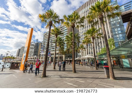 SYDNEY, NSW, AUSTRALIA - May 30, 2014: Circular Quay is a harbour in Sydney, New South Wales, Australia on the northern edge of the Sydney central business district on Sydney Cove. - stock photo