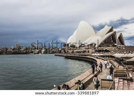 SYDNEY - OCTOBER 25: Sydney Opera House in cloudy day view on October 25, 2015 in Sydney, Australia. The Sydney Opera House is a famous arts center. - stock photo