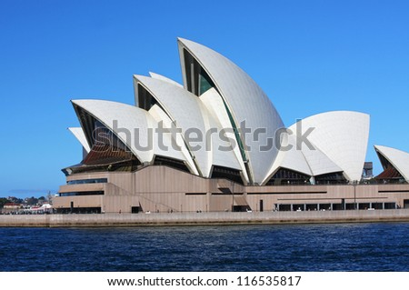 SYDNEY - OCTOBER 3: The Sydney Harbour Bridge in Sydney, Australia on October 3, 2008. It was designed by Danish architect Jorn Utzon - stock photo