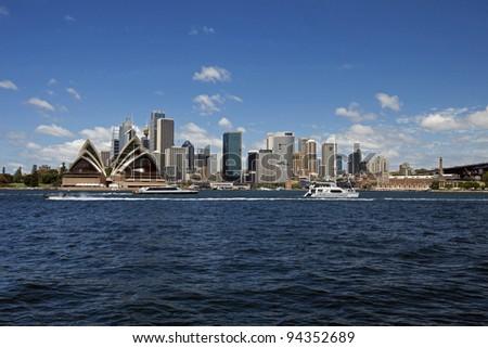 Sydney Opera House, harbour and downtown, Sydney, NSW, Australia - stock photo