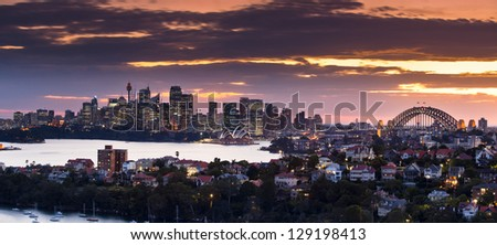 Sydney Panorama taken from a unique position in Mosman not available to the public - stock photo