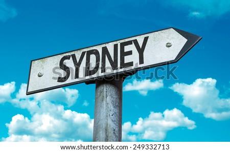 Sydney sign with sky background - stock photo