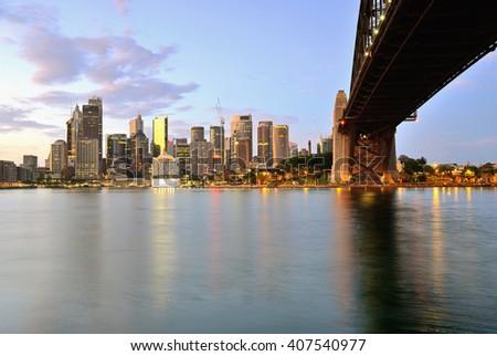 Sydney skyline during sunrise, Australia - stock photo