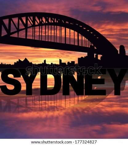 Sydney skyline reflected with text sunset illustration - stock photo